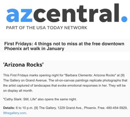 Barbara Clements: Arizona Rocks, installation view