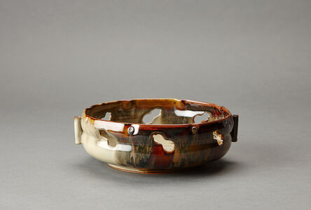 Miraku Kamei XV, 'Sweets tray (kashiki), six gourd (mubyou) design openwork and kakewake'