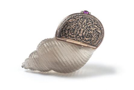 Peter Carl Fabergé, 'An Enamel and Diamond set Carved Smokey Quartz Bonbonnière'