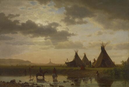 Albert Bierstadt, 'View of Chimney Rock, Ohalilah Sioux Village in the Foreground', 1860