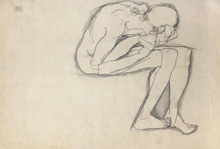 Egon Schiele, 'Crouching Nude', 1913