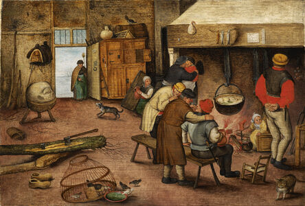Pieter Bruegel the Younger, 'Peasants warming themselves beside the hearth', 17th century