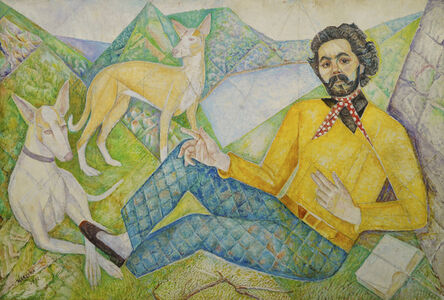 Marie Vorobieff Marevna, 'John West with his dogs', 1972