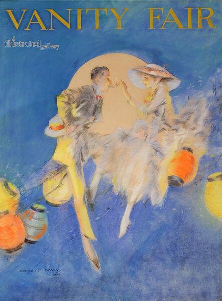 Everett Shinn, 'Couple Sitting Among Lanterns, Cover for Vanity Fair'