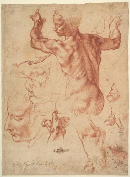 Michelangelo Buonarroti, 'Studies for the Libyan Sibyl (recto); Studies for the Libyan Sibyl and a small Sketch for a Seated Figure (verso)', ca. 1510–1511