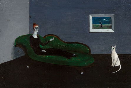 Gertrude Abercrombie, 'Untitled (Countess Narone on Chaise with White Cat and Lonely Tree Painting)', 1951