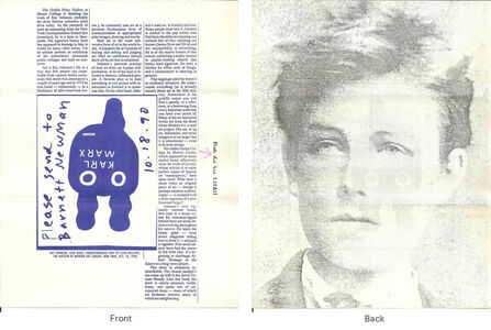 Ray Johnson, 'Mail Art + Ephemera, Dear Raphael Rubinstein at Art In America (Rimbaud-Marx)', ca. 1990