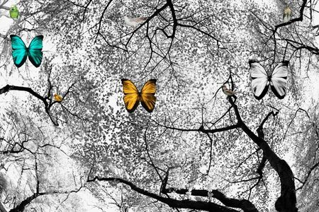 Isack Kousnsky, 'BW Cherry Blossoms with Butterflies', 2013