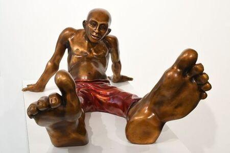 Idan Zareski, 'Bigfoot 36 Bronze with red pants', 2019