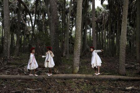 Allison Janae Hamilton, 'Three girls in sabal palm forest III', 2019