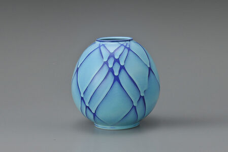 Shomura Ken, 'Round Flower Vessel with Blue Tint', 2007