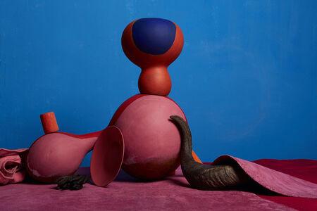 Lorenzo Vitturi, 'Painted Agbe, Italian Leather, Coral Beads and Horn', 2017