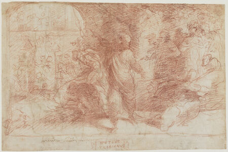 Domenico Beccafumi, 'Publius Mutius Condemning His Colleagues to be Burnt (a); Male Figure Study (b)', 1529-1535