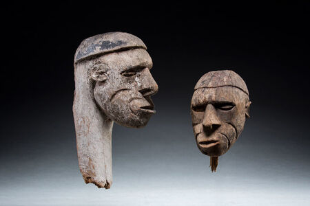 Asmat, 'Two New Guinea wooden heads, Asmat culture, Oceanic Art, Tribal Art, South Pacific', ca. mid 20th century