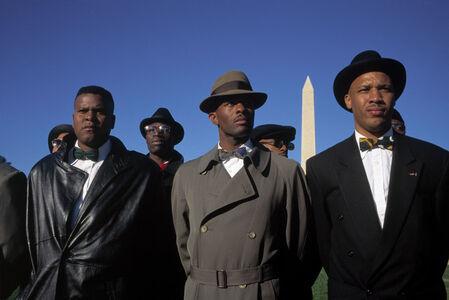 "David Alan Harvey, '""Million Man March."" Members of the Nation of Islam on the mall. Washington DC, USA.', 1995"