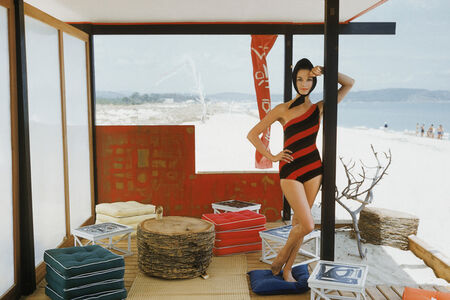 Mark Shaw, 'One Shouldered Maillot in St. Tropez Beach Cabana', 1961