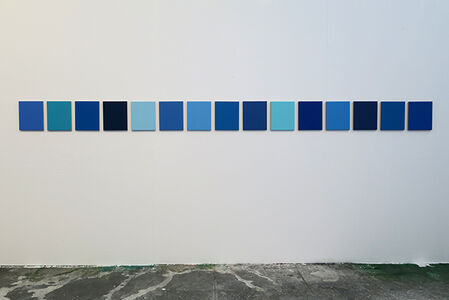 Julião Sarmento, '15 different shades of blue found in the studio', 2018