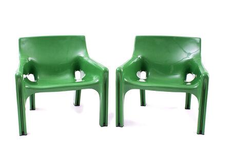 "Vico Magistretti, 'Couple of chairs ""Vicario"" type', 1970-79"