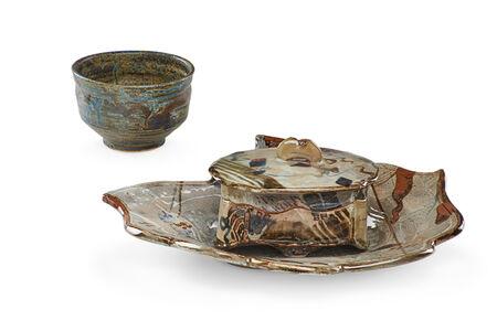 John Glick, 'Lidded vessel and charger, tea bowl'