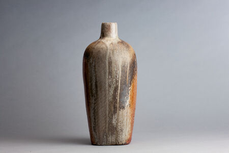 Randy Johnston, 'Squared vase, shino glaze with impressed rope pattern and natural ash', n/a