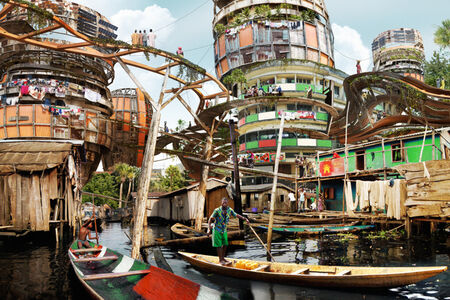 Olalekan Jeyifous, 'Lagos Makoko Canal', 2015