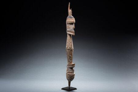 Asmat, 'Old Asmat Culture Wood Neckrest, New Guinea Art, Oceanic Art, Tribal Art, South Seas', early/mid 20th century