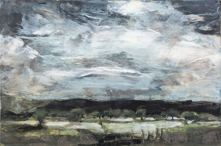 Simon Andrew, 'Orchards at Dusk - emotive encaustic on panel with pale green, blue and charcoal', 2017
