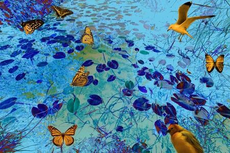 Isack Kousnsky, 'Blue Marsh Golden Butterflies ', 2013