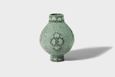 Kwang-yeol Yu, 'Celadon Octagonal Bottle  with Inlaid Cloud, Peony  and Scrolled Design', 2006