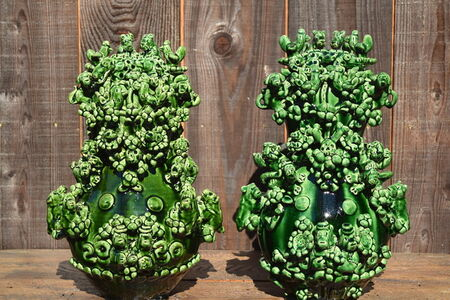 Jeffry Mitchell, 'Leaf Green Gourd Shaped Vases', 2020