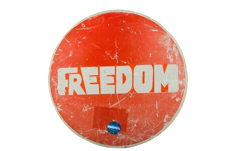 Clet Abraham, 'Two street art traffic sign works 'Circular secret wall (FREEDOM)' and 'Triangular secret wall' circular sign'