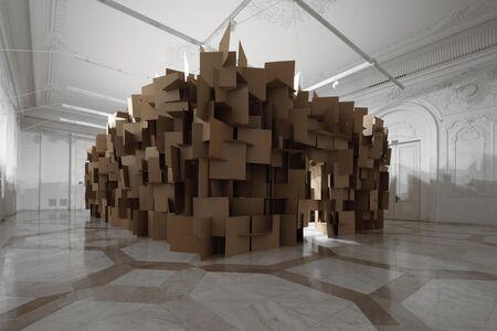 Zimoun, '200 prepared dc-motors, 2000 cardboard elements 70x70cm', 2011