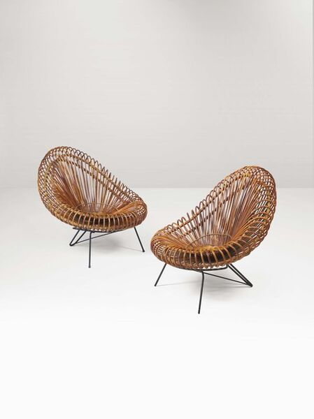 Janine Abraham and Dirk Jan Rol, 'A pair of rattan armchairs with a metal structure', 1950 ca.