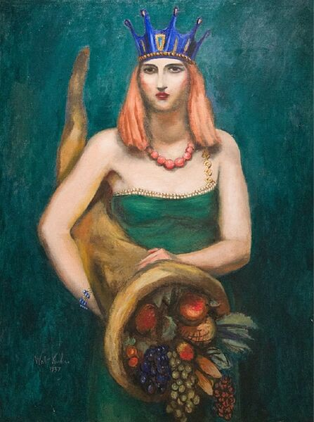 Walt Kuhn, 'Young Woman with Crown and Cornucopia', 1937