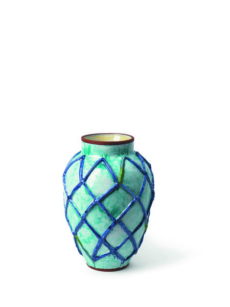 Judy Ledgerwood, 'Large Raised Grid Vase with Celadon, Cobalt Blue, Green, Magrun + Yellow', 2018