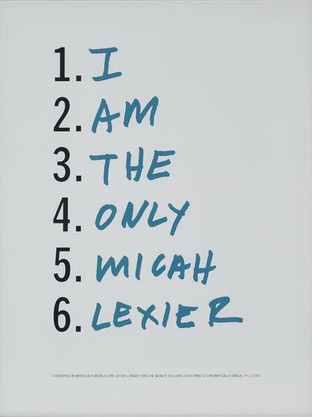 Micah Lexier, 'I Am The Only Micah Lexier'