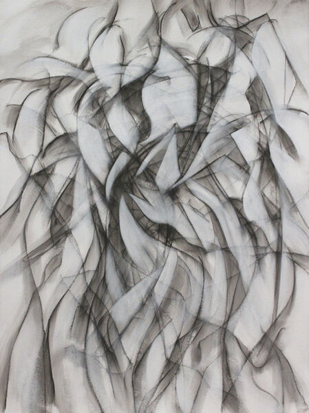 """donna e perkins, '""""Elusive: Spin Me"""", Modern Cubism, An Ode to Duchamp, Lines of dancers dancing, Black, white and gray on heavy watercolor paper', 2015"""