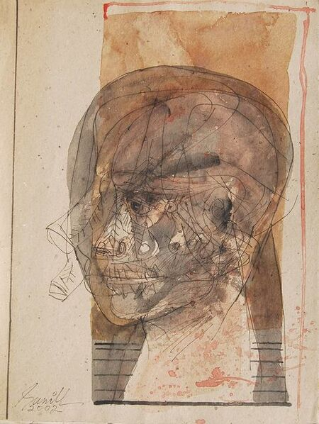 "Sunil Das, 'Head II, Mixed Media on Board, Brown, Black by Master Indian Artist Sunil Das ""In Stock""', 2002"