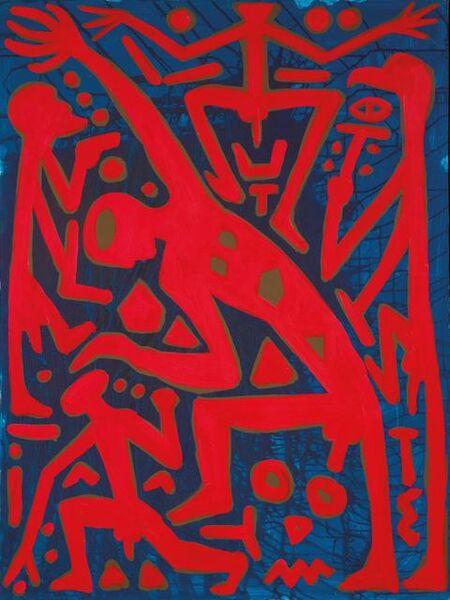 A.R. Penck, 'Le retour au système central ', 1996