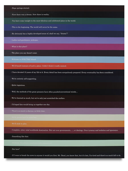 Octavio Abúndez, 'James Bond / Hugo Drax / Master of Ceremonies / Elektra King / Foreign Secretary / Torunament Director / Madeleine Swann / M / Morzeny / M / Goldfinger / Francisco Scaramanga / James Bond / Blofeld / Professor Joe Butcher / Octopussy / Dr. No / James Bond / Astronaut Chris / Elliot Carver / M / James Bond / Kara Milovy / Blofeld Character', 2019