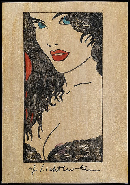 Roy Lichtenstein Woman In Black Lace With Red Lips 1980 S Artsy