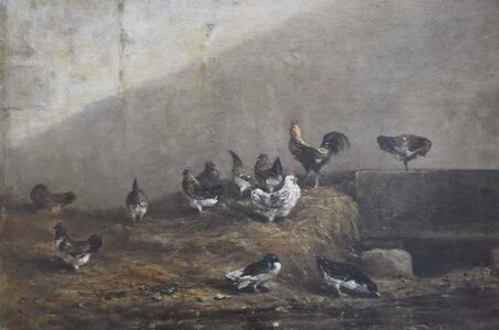 Alexandre-Gabriel Decamps, 'Hens and ducks in a poultry yard', ca. 1850