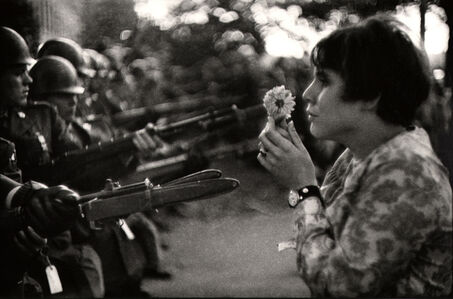Marc Riboud, 'Young girl holding a flower, demonstration against the war in Vietnam, Washington.', 1967