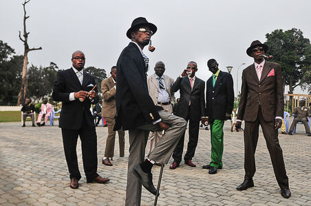 Daniele Tamagni, 'The Playboys, Sapeurs posing in front of Memorial Savorgnan de Brazza (from the Gentlemen of Bacongo series), ', 2008