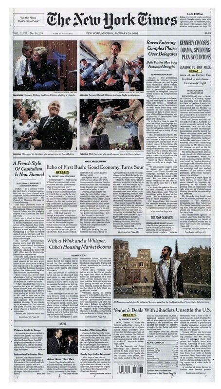 Olia Lialina and Dragan Espenschied, 'Online Newspapers: The New York Times', 2008, Installation, Scanned newspaper front pages, video screens, gif effects, Madison Square Park