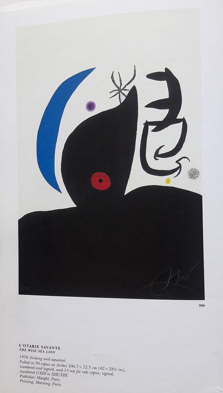 Joan Miró, 'L'Otarie Savante (The wise Sea Lion)', 1978, Print, Color etching and aquatint on Arches paper, Invertirenarte.es