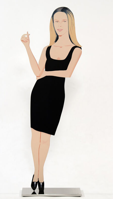 Alex Katz, 'Yvonne (from Black Dress cut-out series)', 2018, Sculpture, Baked archival UV inks on shaped powder-coated aluminum, printed on 2-sides, mounted to polished stainless-steel base, American Friends of Museums in Israel Benefit Auction