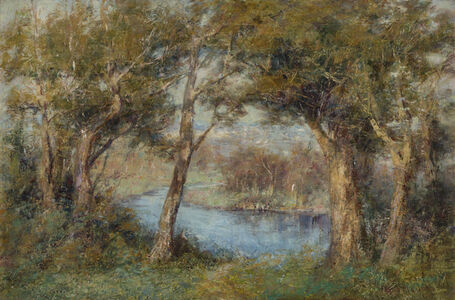 Fred McCubbin, '(The Pool, Heidelberg - View of the Yarra River towards Richmond from below McCubbin's House, Kensington Road)', 1910