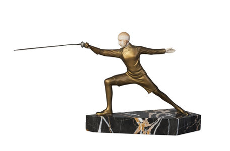 R. Lanoe, ''Fencer,' an Art Deco cold-painted bronze and ivory figure', c.1930