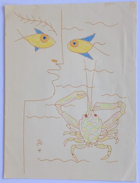 Jean Cocteau, 'Profile with Fish and Crab', ca. 1960